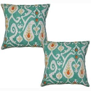 Teal Boho Stitched Cushion Covers